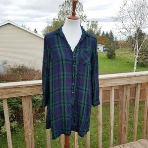 Old Navy Green Plaid Flannel Tunic